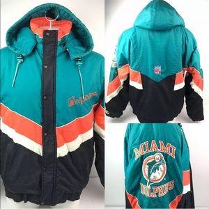 Vtg Miami Dolphins Proline Starter L XL Jacket
